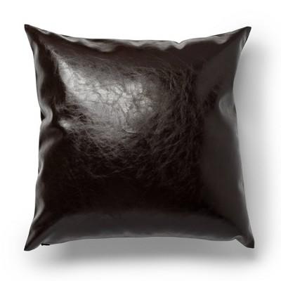 """20""""x20"""" Faux Leather Decorative Throw Pillow Brown - SureFit"""