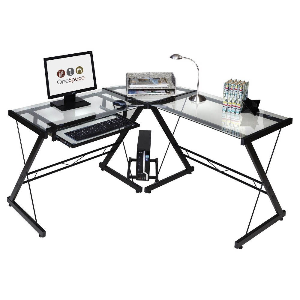 OneSpace 50-JN110500 Ultramodern Glass L-Shape Desk, Black and Clear