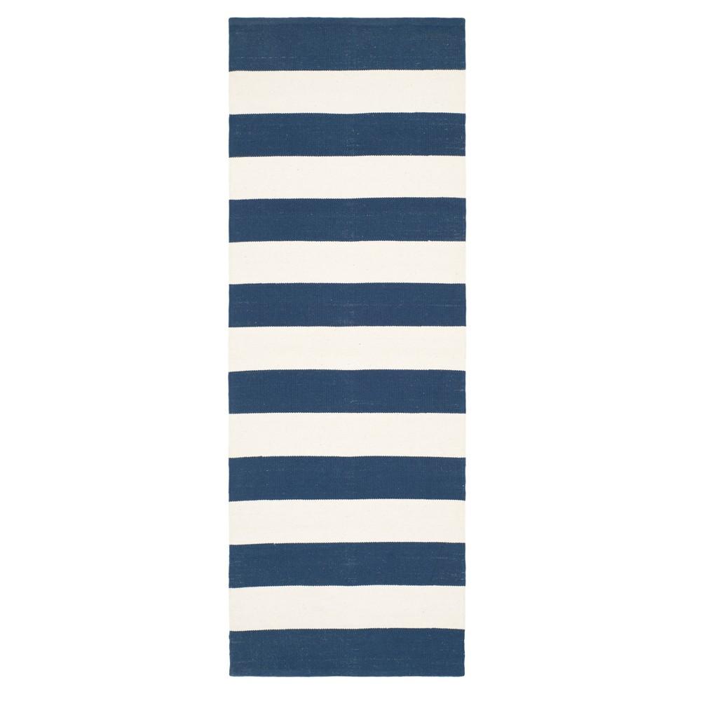 Navy/Ivory (Blue/Ivory) Stripe Flatweave Woven Runner 2'3X5' - Safavieh