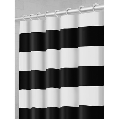 Smart Shower Curtains Porter Stripe Fabric With Attached Hooks Black - Maytex