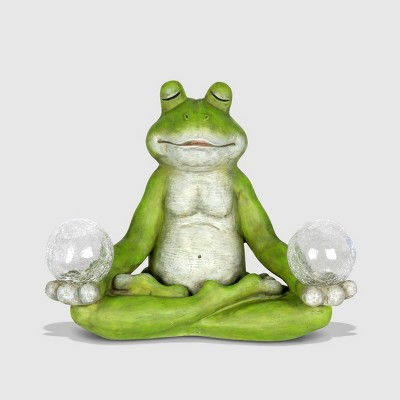 10  Resin Solar Yoga Frog Holding 2 Glass Jars Garden Statue Green - Exhart