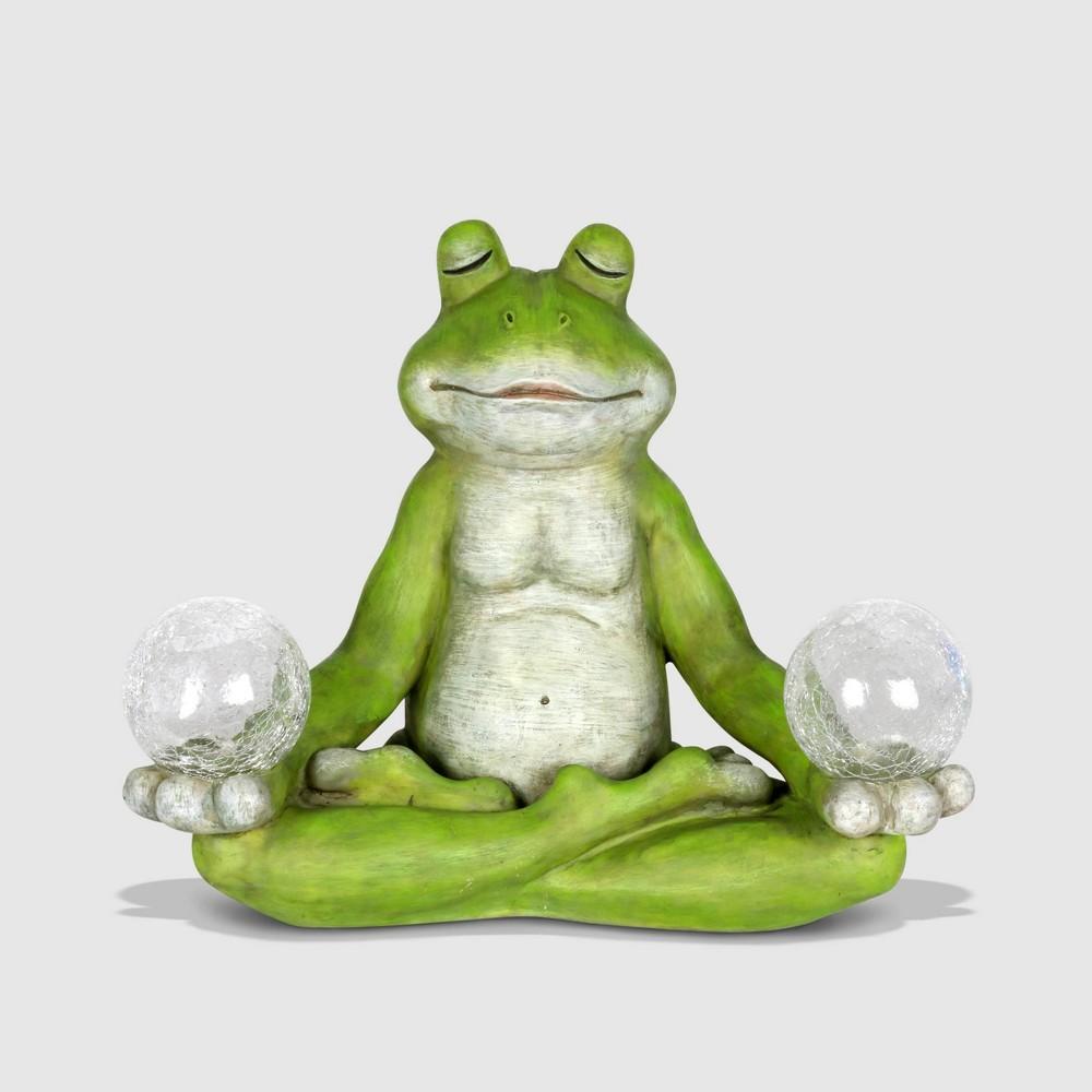 "Image of ""10"""" Resin Solar Yoga Frog Holding 2 Glass Jars Garden Statue Green - Exhart"""