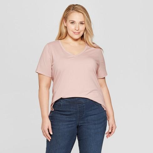 Women's Plus Size Short Sleeve V-Neck Essential T-Shirt - Ava & Viv™ - image 1 of 2