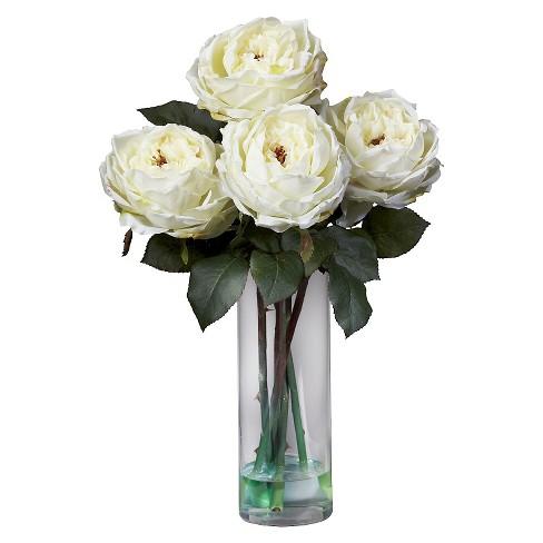 Nearly Natural Fancy Rose W Cylinder Vase Silk Flower Arrangement