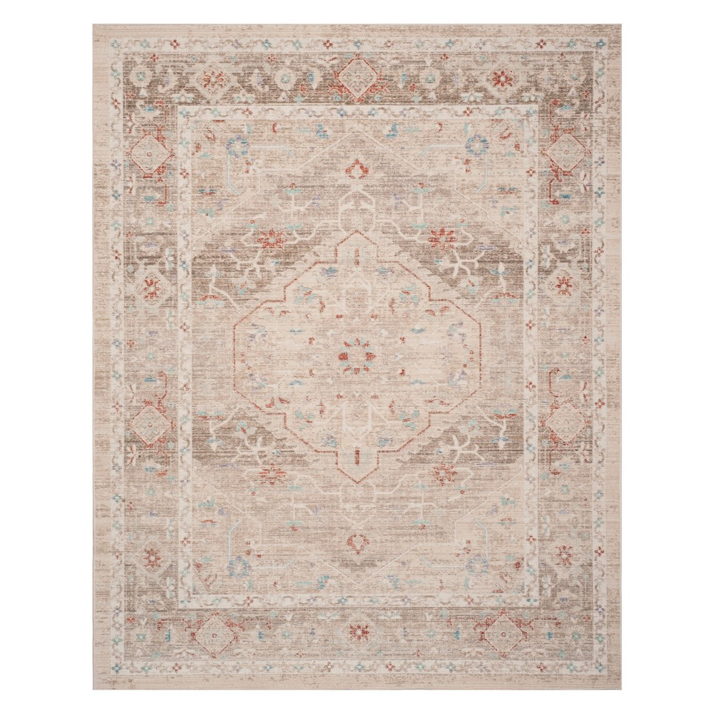 8'X10' Medallion Loomed Area Rug Ivory/Brown - Safavieh, White