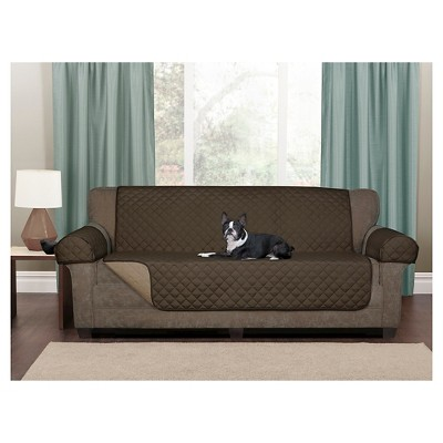 Merveilleux Chocolate Reversible Pet Cover Microfiber Sofa Loveseat Slipcover   Maytex  : Target