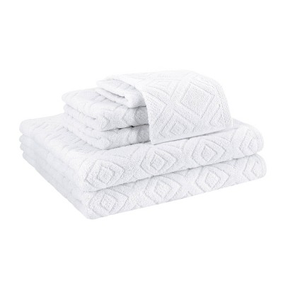 6pc LaRue Turkish Cotton Bath Towel Set White - Makroteks