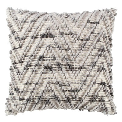 Natural/Gray Chevron Throw Pillow (20 x20 )- Rizzy Home®