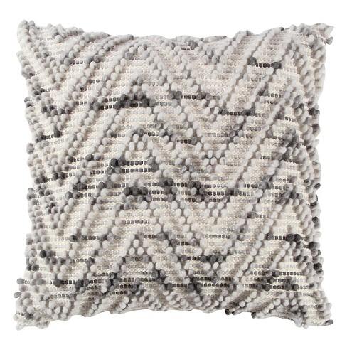 "20""x20"" Chevron Throw Pillow Natural/Gray - Rizzy Home - image 1 of 4"