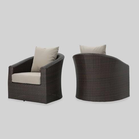 Peachy Darius 2Pk Wicker Outdoor Patio Swivel Club Chair Khaki Christopher Knight Home Ncnpc Chair Design For Home Ncnpcorg