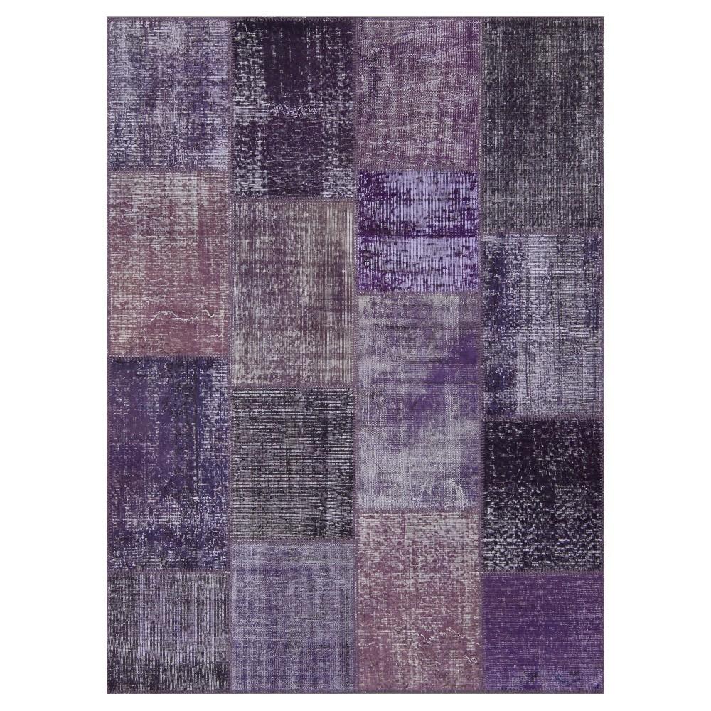 "Image of ""Antique Patchwork Area Rug Purple 5'3""""x7'3"""""""