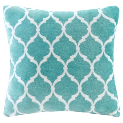 Aqua Ogee Printed Microlight Throw Pillow (20 x20 )