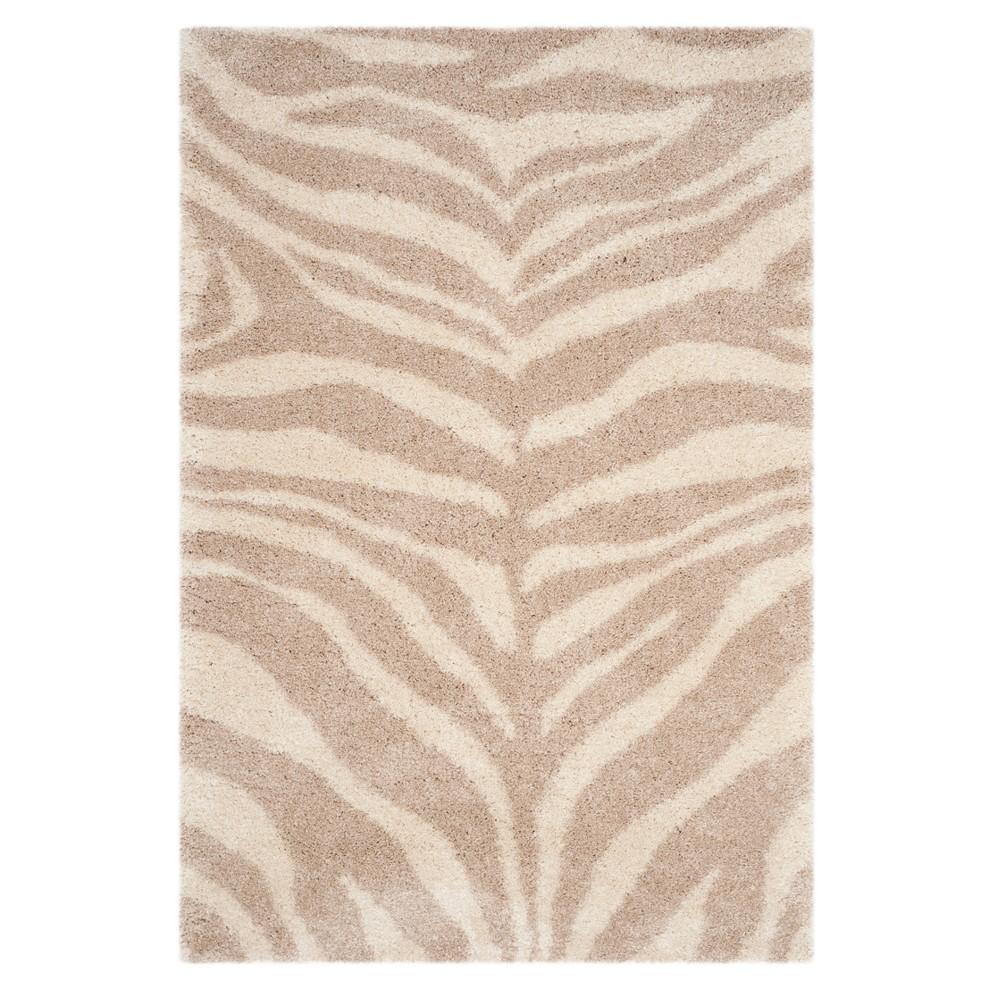 Ivory/Beige Zebra Stripe Loomed Area Rug 5'1