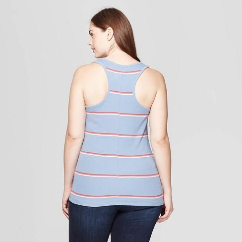 b3ec36ad10921 Women s Plus Size Striped Sleeveless Scoop Neck Rib Racerback Tank Top -  Universal Thread™ Red White 4X   Target
