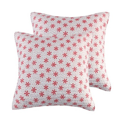 Let It Snow Holiday Euro Sham Set of 2 Red - Levtex Home