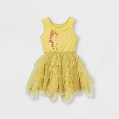 Toddler Girls' Disney Princess Belle Sleeveless Tutu Dress - Yellow