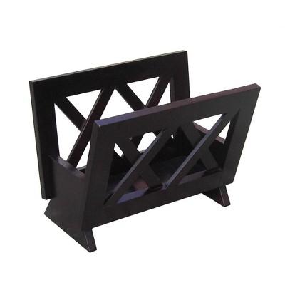 Oceanstar Contemporary Solid Wood Magazine Rack