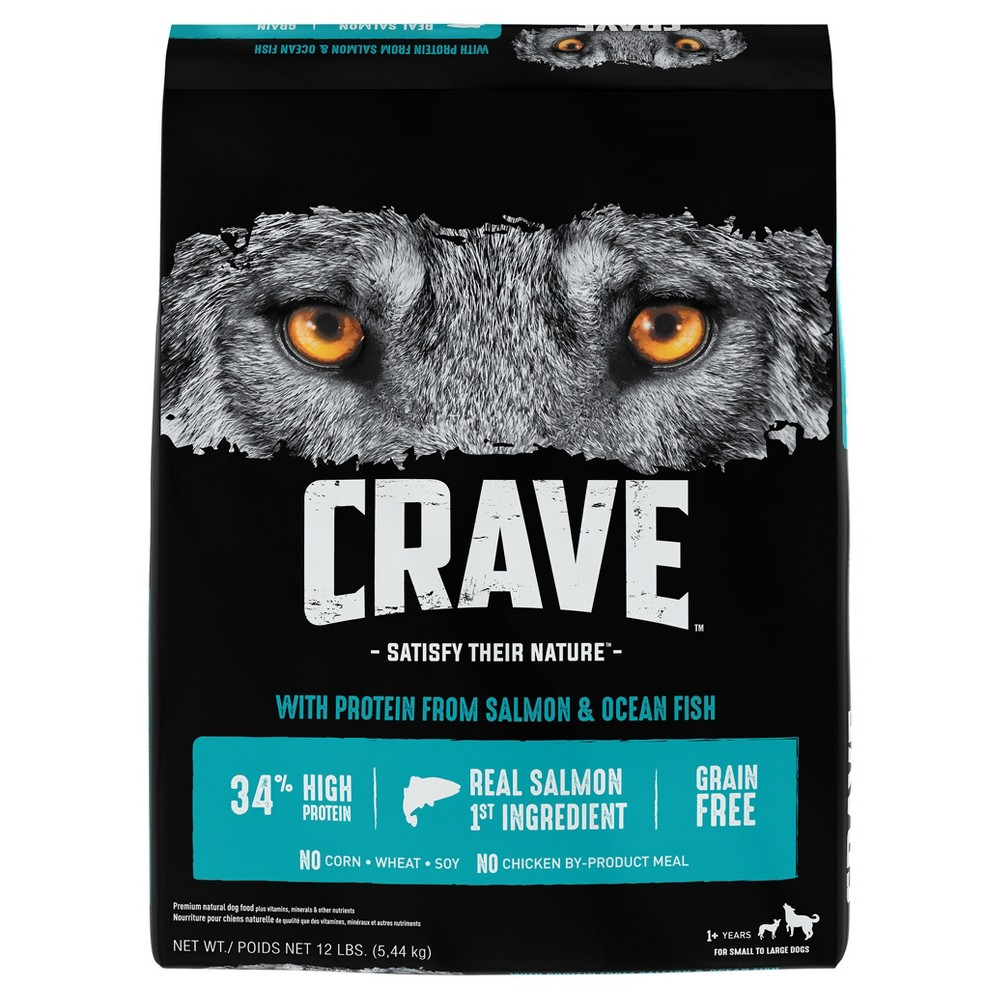 Crave Grain Free Adult Dry Dog Food With Protein From Salmon and Ocean Fish - 12lbs