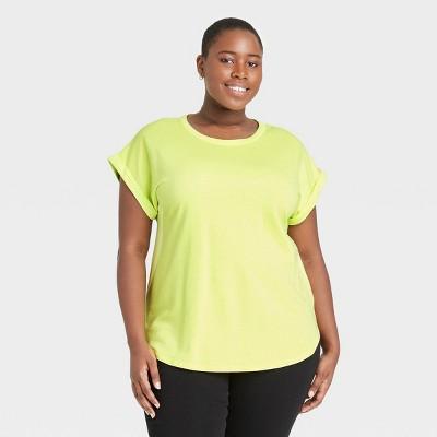 Women's Plus Size Round Neck Cuffed T-Shirt - Ava & Viv™