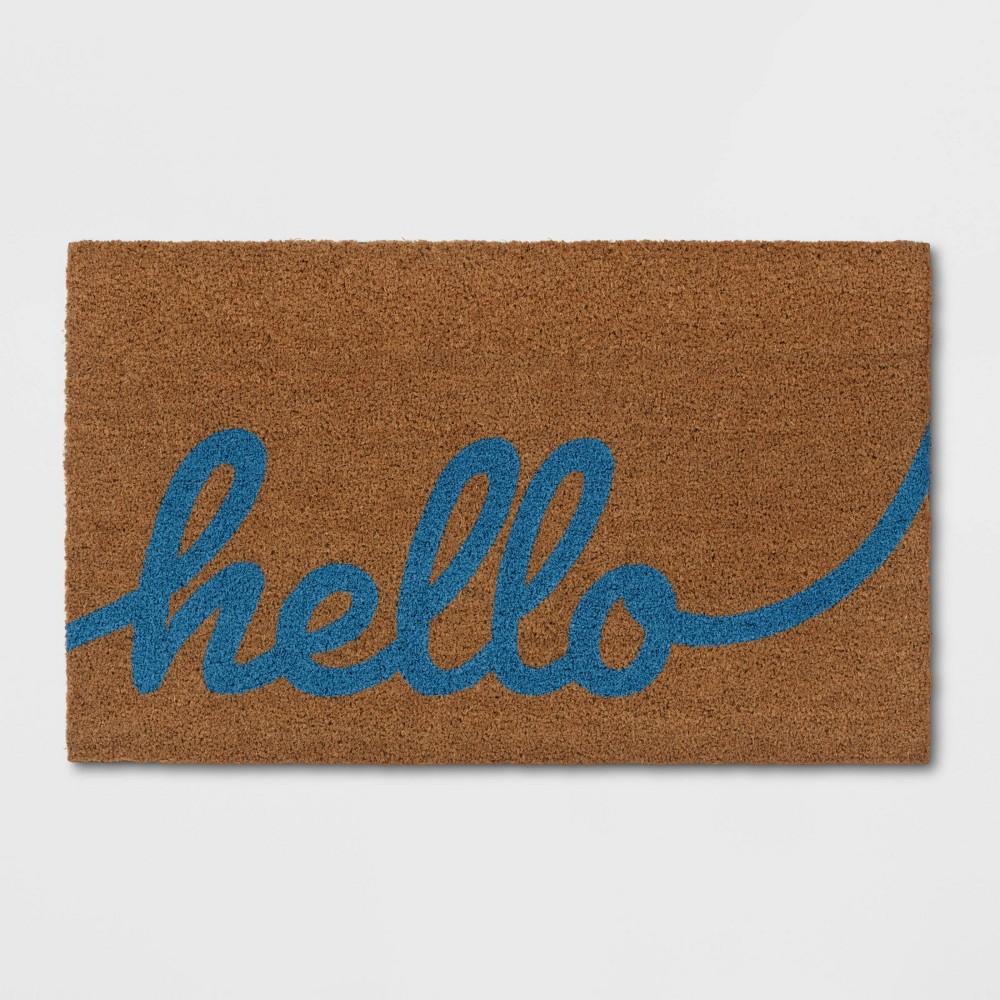 Hello Coir Doormat Blue