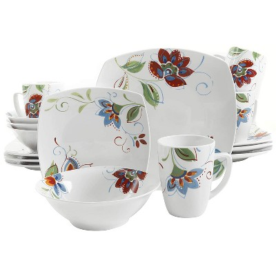 Gibson Home Altavista Complete 16 Piece Soft Square Ceramic Dinnerware Dish Set with Multi Sized Plates, Bowls, and Mugs, White Floral Pattern