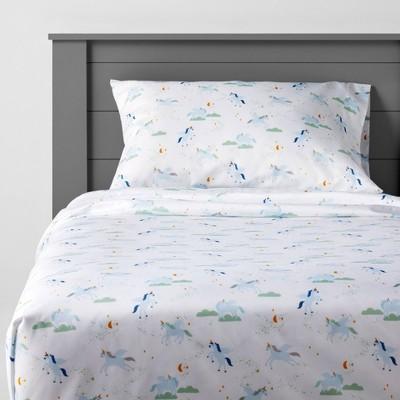 Unicorn Microfiber Sheet Set Blue - Pillowfort™