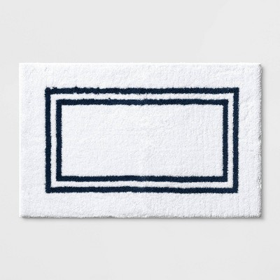 "21""x34"" Border Bath Rug Dark Blue Stripe - Threshold Signature™"