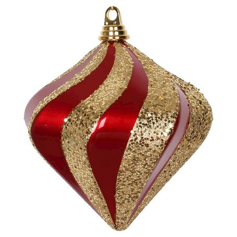"6"" Red/Gold Candy Glitter Swirl Diamond Christmas Ornament - image 1 of 1"