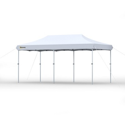Outsunny 10'x20' Aluminum Pop Up Canopy Folding Instant Shelter Party Tent with Wheeled Bag 2-Level Adjustable & Upgraded Thicker TubePatio Backyard