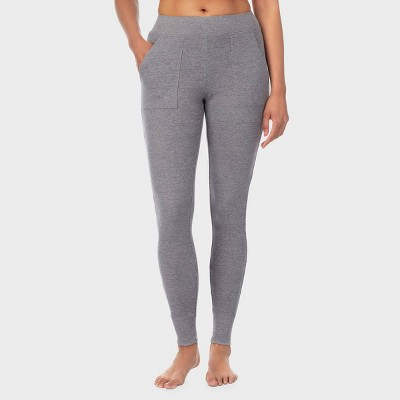 Warm Essentials by Cuddl Duds Women's Waffle Thermal Leggings with Pockets