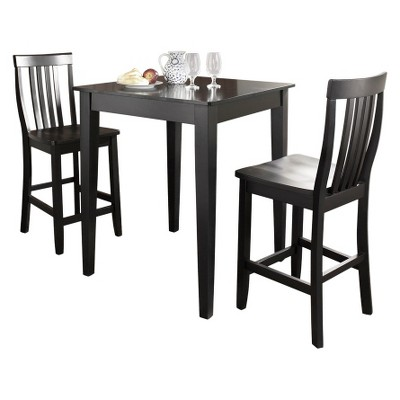 3 Piece Pub Dining Set With Tapered Leg And School House Stools   Crosley :  Target
