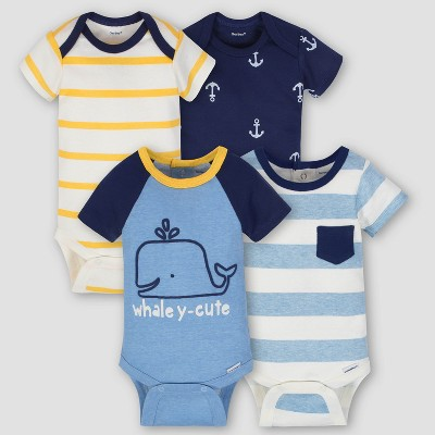 Gerber Baby Boys' 4pk Whale Short Sleeve Onesies Bodysuit - Blue/Yellow 0-3M