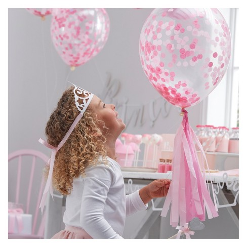 5ct Confetti Filled Balloons Pink - image 1 of 3