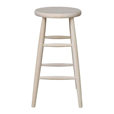Scooped Seat Counter Height Barstool Unfinished - International Concepts : Target