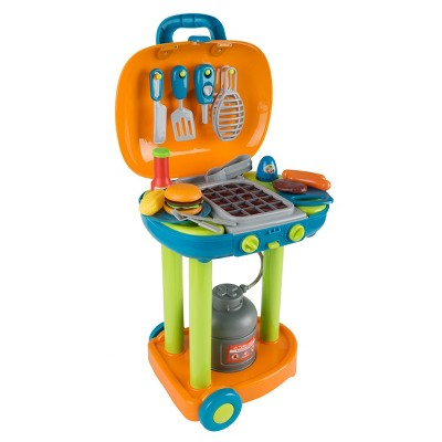 Toy Time Kids' Pretend Play BBQ Grill Toy Set with Toy Food and Kitchen Accessories - Green, Blue, Orange