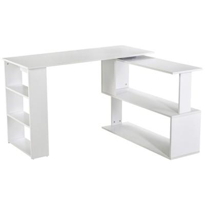 HomCom Rotating Home Office L-Shaped Desk and Storage Shelf Combo