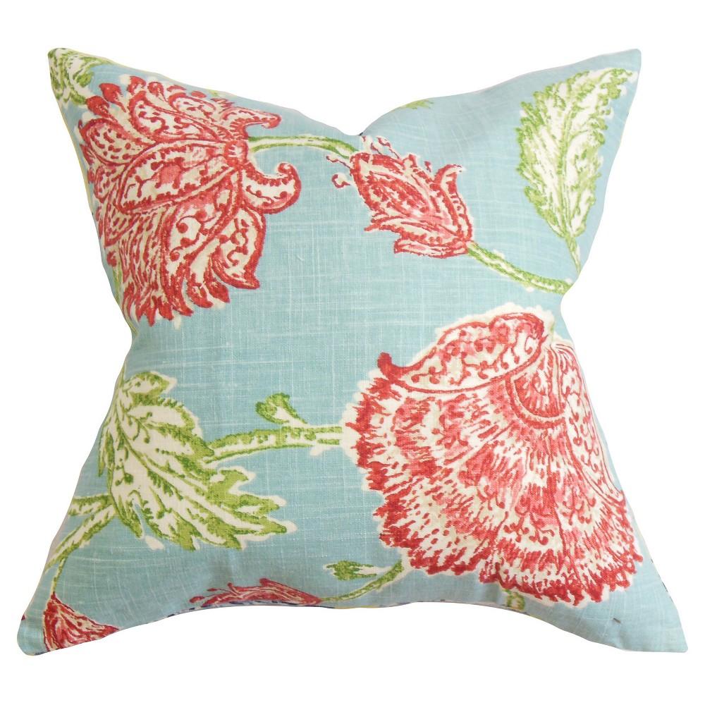 Floral Throw Pillow Aqua (18