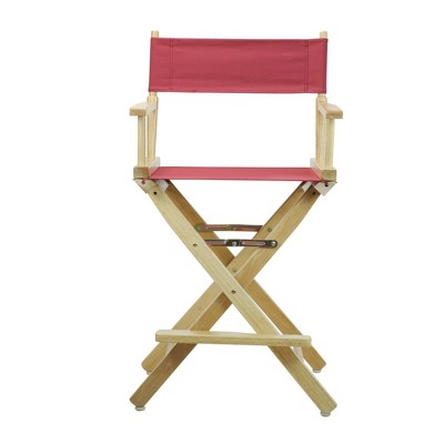 Director's Chair Counter Height Canvas Burgundy/Natural Flora Homes, Red