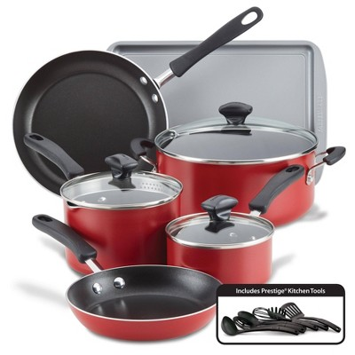 Farberware Cookstart 15pc Aluminum Nonstick Cookware Set Red