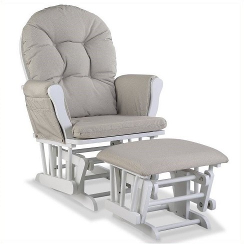 Custom Glider and Ottoman in White and Taupe Swirl-Pemberly Row - image 1 of 2