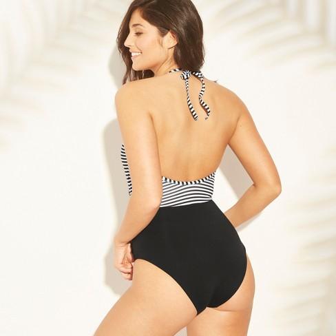 5a65067fb41b Sunn Lab Women's Striped Halter Wrap One Piece Swimsuit : Target