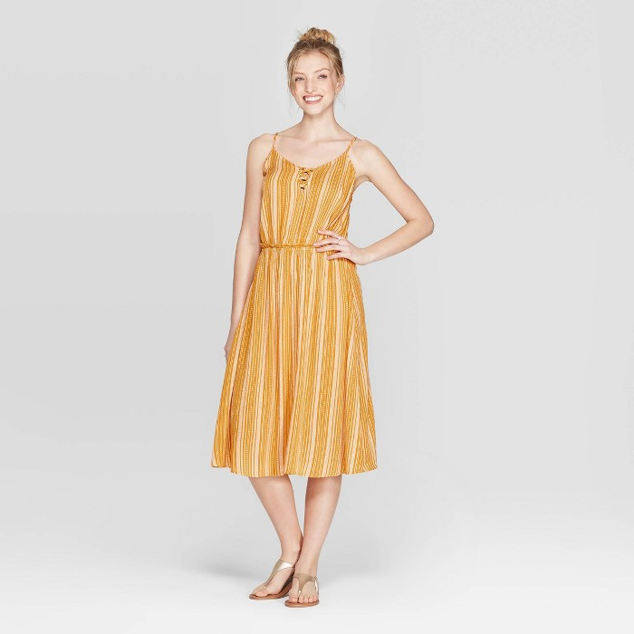 Women's Striped V-Neck Strappy Lace-Up Top Midi Dress - Xhilaration™ Golden Yellow - image 1 of 2