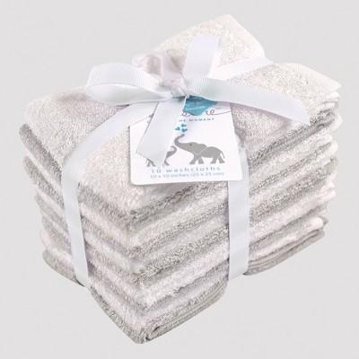 Hudson Baby 10pk Washcloth Set - Gray/White 0-24M
