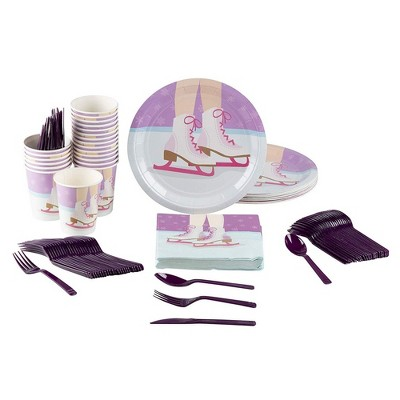 Blue Panda 144-Piece Serves 24 Ice Skating Party Supplies - Disposable Plates, Napkins, Cups & Cutlery