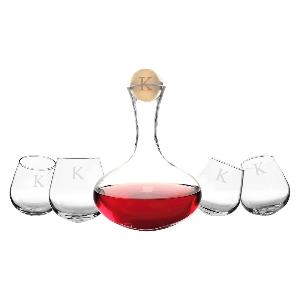 Cathy's Concepts 5pc Monogram Wine Decanter & Tipsy Tasters Set K, Clear