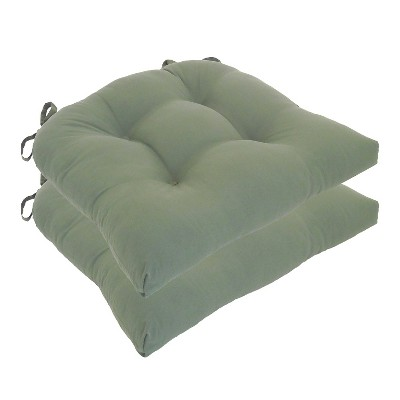 Dark Green Micro Fiber Chair Pads With Tie Backs (Set Of 4)- Essentials