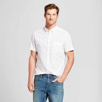 Men's Slim Fit Short Sleeve Button-Down Shirt - Goodfellow & Co™ White M