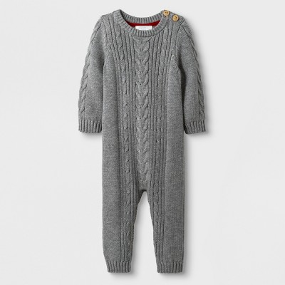Baby Girls' Long Sleeve Cable Sweater Romper - Cloud Island™ Heather Gray Newborn