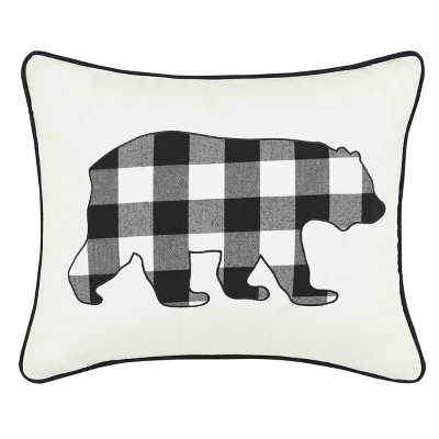 Black Cabin Plaid Bear Throw Pillow - Eddie Bauer