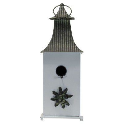 Multicolored Metal Decorative Birdhouse with Flower Accent - Foreside Home & Garden